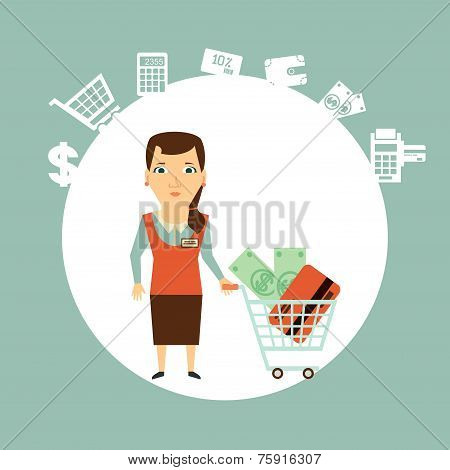 seller offers to pay in cash or card  illustration