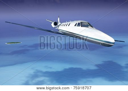 Private Jet Taking Off From The Island In The Sea