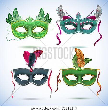 Carnival masks with feathers, Masquerade party mask set