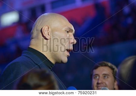 NOVOSIBIRSK, RUSSIA - NOVEMBER 8, 2014: World champion in boxing Nikolay Valuyev talk with press during the Friendship Cup. The competitions include 10 kinds of martial arts