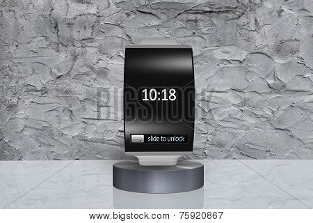 Black Glass Bent Interface Smartwatch On Showcase