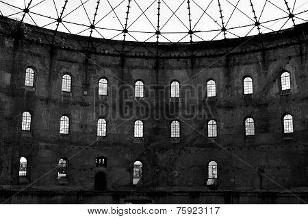 Old abandoned factory with big halls in east germany poster