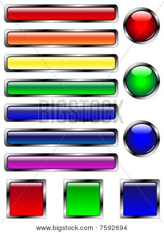 Vector set of 13 multicolored web buttons