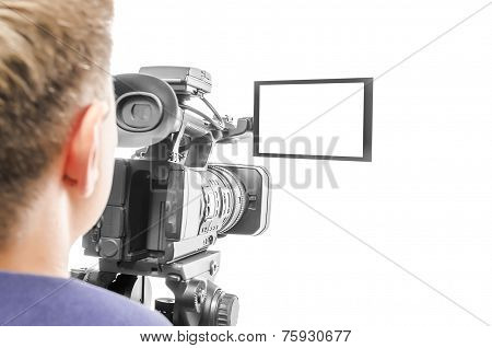 Video camera operator isolated on white background. Focus on screen. poster