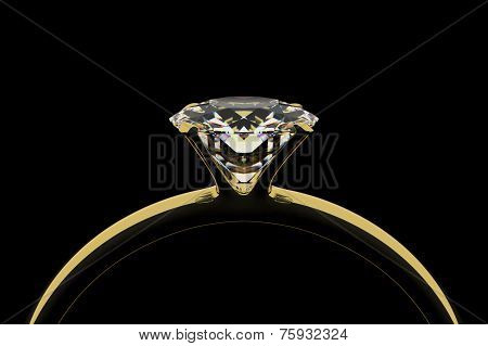 Golden ring with diamond.
