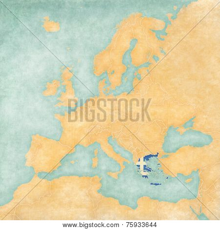 Greece (Greek flag) on the map of Europe. The Map is in vintage summer style and sunny mood.