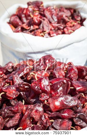 Red Paprica In Traditional Vegetable Market In Morocco