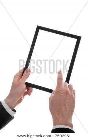 Male Hand Holding A Touchpad Pc, One Finger Touches The Screen