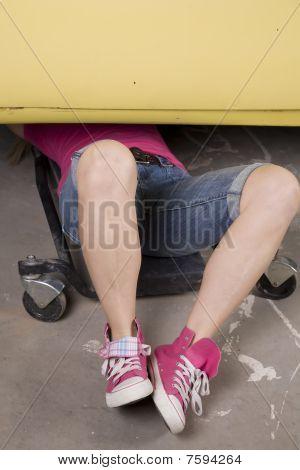 Under Car Pink Shoes
