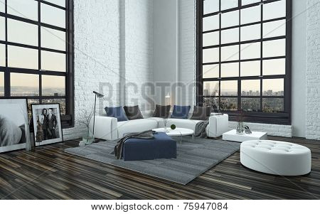 3D Rendering of Modern stylish grey and white living room interior with large feature windows, a parquet floor and corner lounge suite