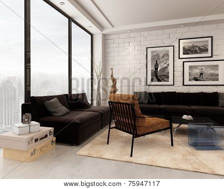 3D Rendering of Comfortable contemporary living room interior with brown, white and beige decor, an abstract wooden sculpture and vintage elements with a glass wall overlooking a town
