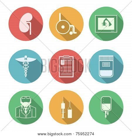 Colored vector icons for nephrology