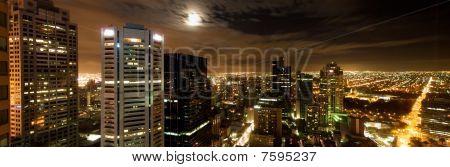 Melbourne city skyline at night panorama