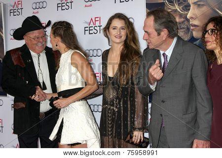 LOS ANGELES - NOV 11:  Barry Corbin, Hilary Swank, Grace Gummer, Tommy Lee Jones, Dawn Laurel-Jones at the
