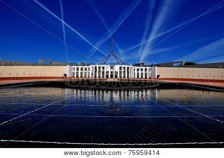 Parliament House Canberra Jet Trails
