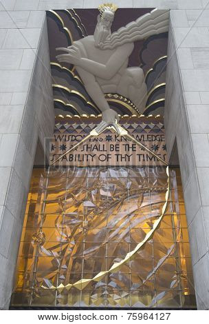 Wisdom, an art deco frieze by Lee Lawrie over the entrance of GE Building at Rockefeller plaza