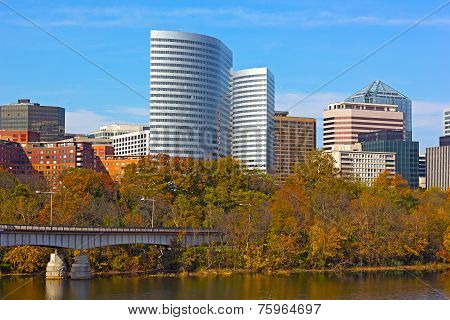Rosslyn skyscrapers and trees in autumn Virginia USA.
