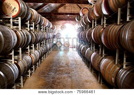 Wine barrel storage in winery cellar