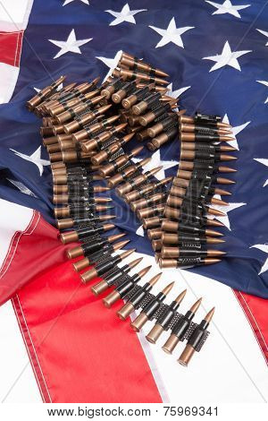 Cartidge Belt On An American Flag