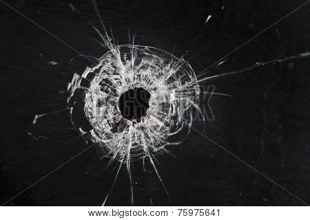 poster of bullet holes in glass isolated on black