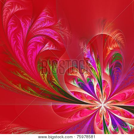 Diagonal symmetric multicolor fractal tracery. Collection - frosty pattern. On red. poster