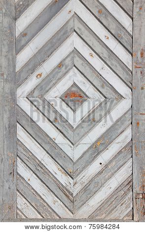 Old Weathered Door With Rhombig Decoration