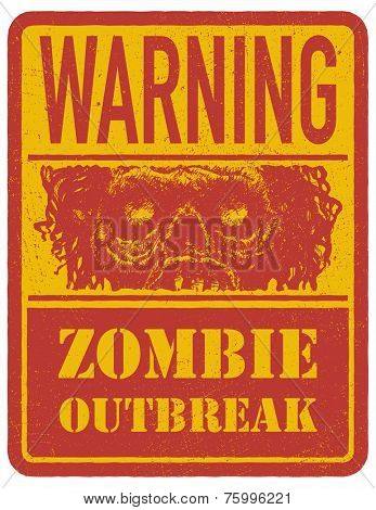 Zombie. Hand drawn. Warning sign. Vector illustration.
