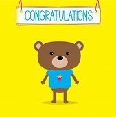 Congratulations card with cute bear. Vector illustration poster