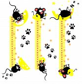 Baby height measure with funny mice (vector in proportions 1:10 jpeg 1:3) poster
