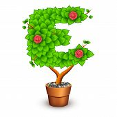 Isolated tree with flowers in clay pot. In the form of letter E. Vector illustration in eps10 poster