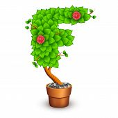 Isolated tree with flowers in clay pot. In the form of letter F. Vector illustration in eps10 poster