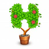 Isolated tree with flowers in clay pot. In the form of letter H. Vector illustration in eps10 poster
