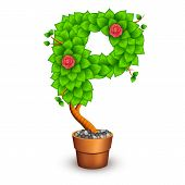 Isolated tree with flowers in clay pot. In the form of letter P. Vector illustration in eps10 poster