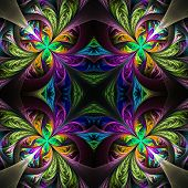 Symmetric multicolored fractal tracery. Collection - frosty pattern. On black. poster