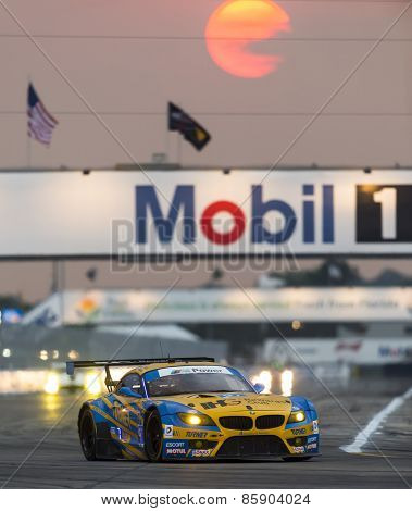 Sebring, FL - Mar 19, 2015:  The Turner Motorsport BMW Z4 races through the turns at 12 Hours of Sebring at Sebring Raceway in Sebring, FL.