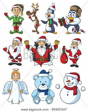 Christmas Cartoon Characters Set