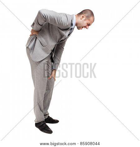 Man suffering for a backache full length