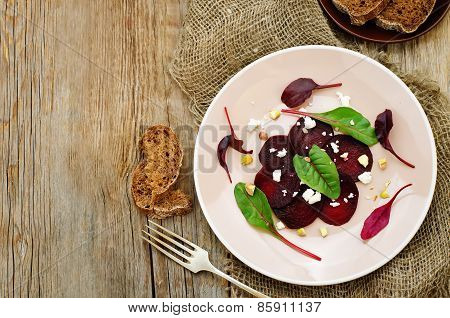 Salad With Roasted Beets, Goat Cheese, Mangold And Pistachios
