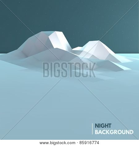 Abstract low poly ice mountain background.
