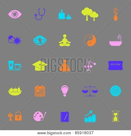 Meditation Color Icons On Gray Background