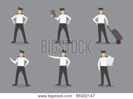Airline Pilot In Uniform Vector Characters Illustration