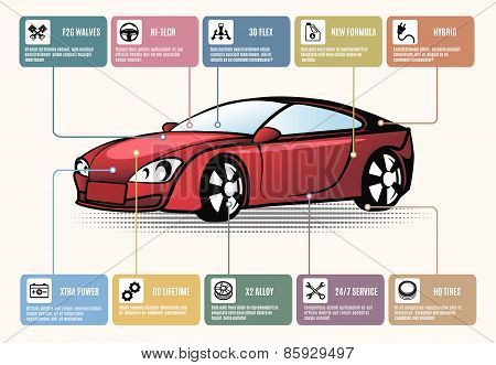 Car parts for infographics