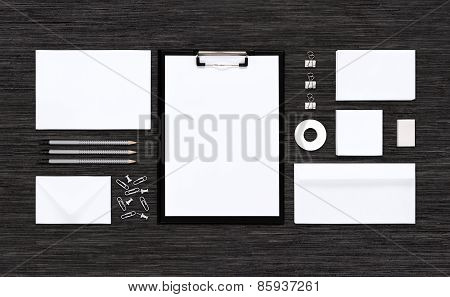Top View Of Template Mockup For Branding Identity On Black Table