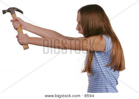 Teen Girl With Hammer