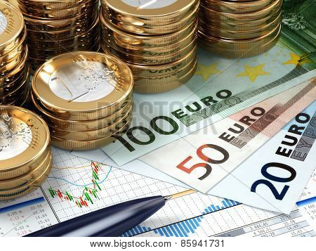Financial stock market concept. Euro banknotes and coins. 3d