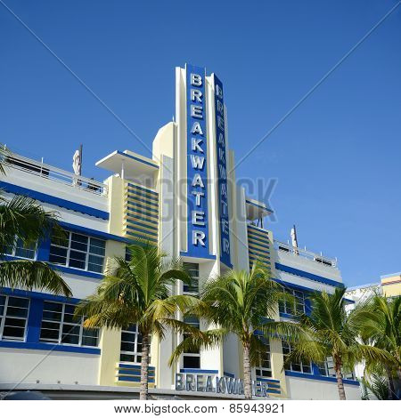 Art Deco Style Breakwater in Miami Beach