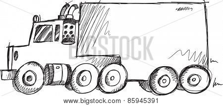 Doodle Sketch Big Truck Vector Illustration Art