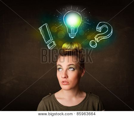 Young preety teenager with hand drawn light bulb illustration