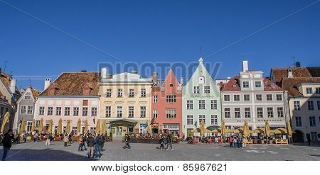 Raekoja Plats Square In The Center Of Old Tallinn
