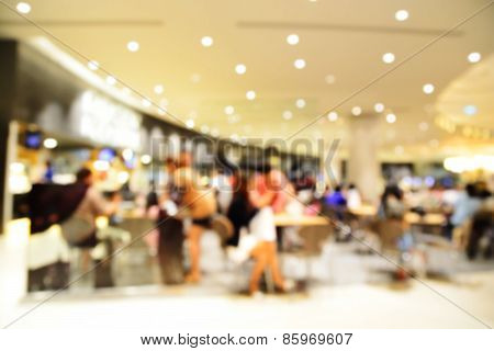 Blur Or Defocus Image Of People Dinner In Restaurant Or Food Center
